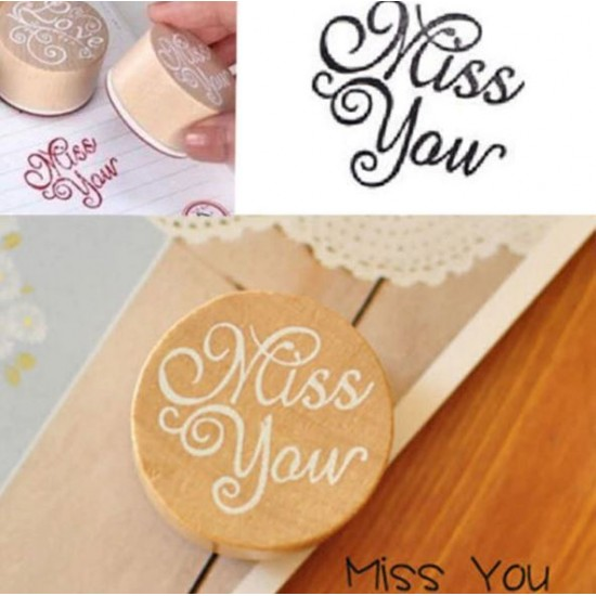Wood rubber stamp - I miss you