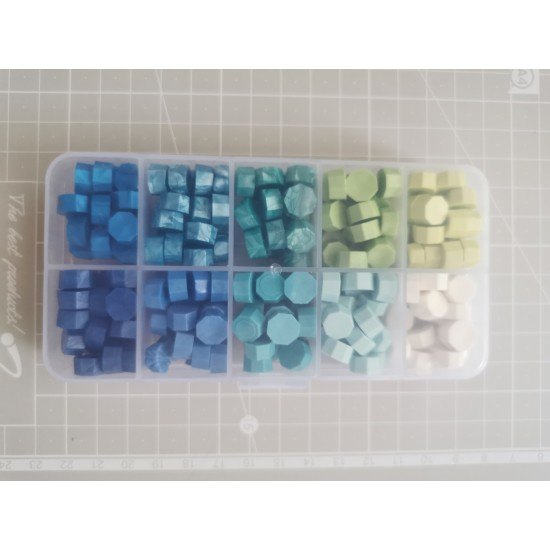 Color sealing wax beads 10 in PVC box - blue-green
