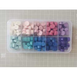 Color sealing wax beads 10 in PVC box - purple-blue-pink
