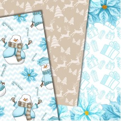 Christmas design paper - snowman papers - 8x8 inches