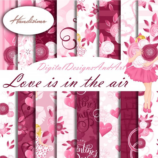 Design paper - Love is in the air - 8 x 8 inches