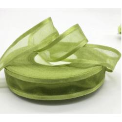 """5Yards 1""""(25mm) Army green Broadside Organza Ribbon"""