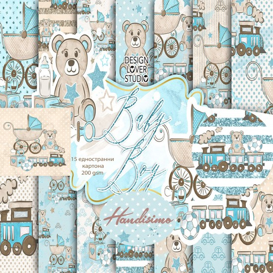 Design pattern paper pack - Baby boy-8x8 inches