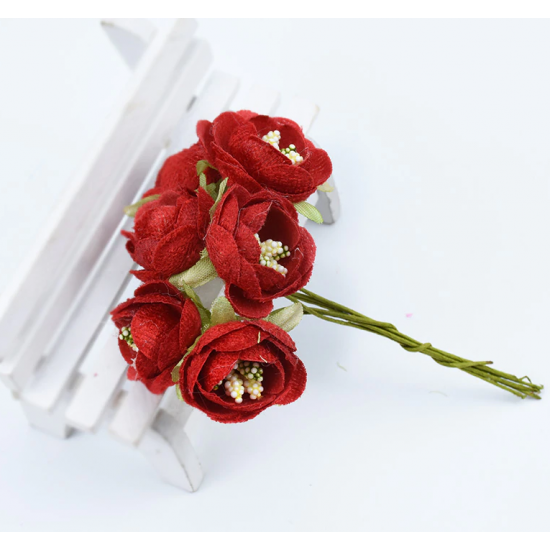 Flowers - 6 pcs - red
