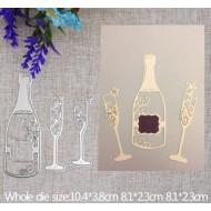 Шаблон за изрязване и релеф - Бутилка шампанско и чаши