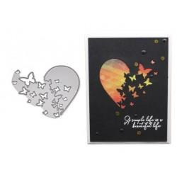Шаблон за изрязване и релеф - пеперудено сърце