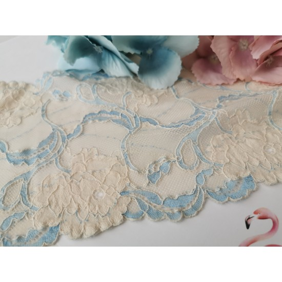Lace in blue and beige - 1m