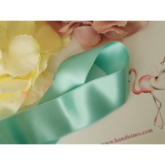 Double satin ribbon in turquoise color - 1m