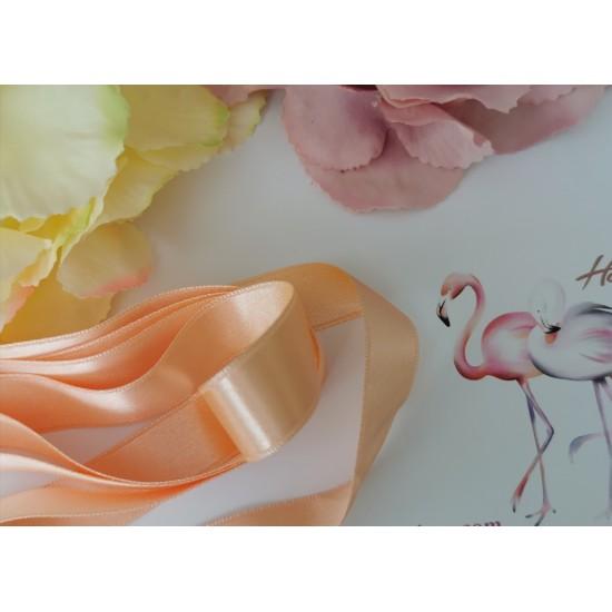 Double satin ribbon in peach color - 1m
