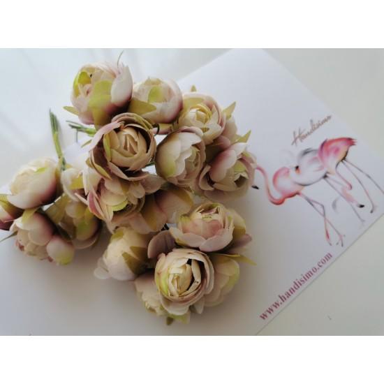 Fabric flowers - ranunculus 6 pcs.