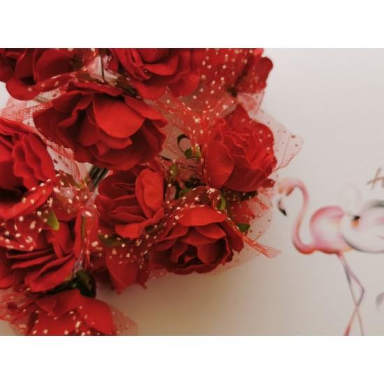 Хартиени рози 6 бр. - червени