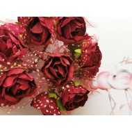 Paper roses 6 pcs. - brick red