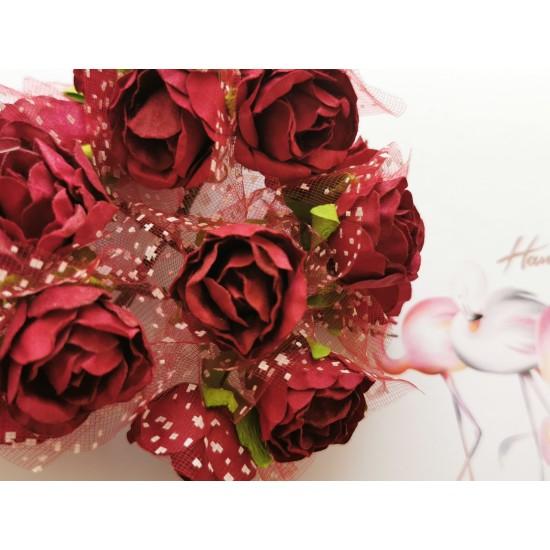 Paper roses 6 pcs. - brick red