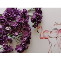 Paper flowers 12 pcs. - dark purple