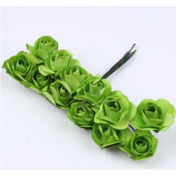 Paper flowers 12 pcs - green