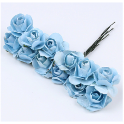Paper flowers 12 pcs.- blue