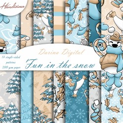 Christmas design paper -Fun in the snow - 8x8 inches