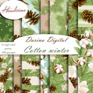 Christmas design paper - Cotton winter- 8 x 8 inches