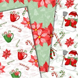 Christmas design paper - Red snowman