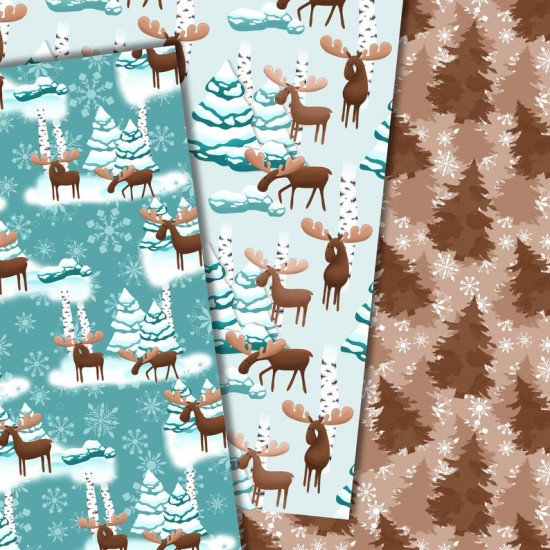 Christmas design paper -Moose around - 8x8 inches