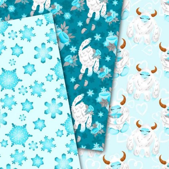 Christmas design paper - Yeti - 8x8 inches