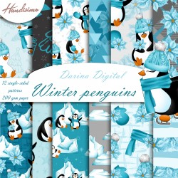 Christmas design paper - Winter penguins - 8x8 inches