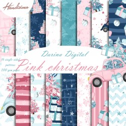 Christmas design paper - Pink Christmas - 8x8 inches