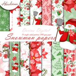 Christmas design paper - Red snowman - 8x8 inches