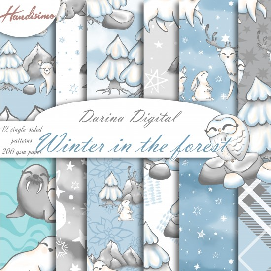 Christmas design paper - Winter animals - 8x8 inches