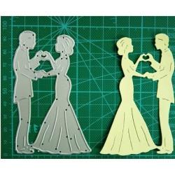 Шаблон за изрязване и релеф - Младоженци