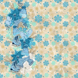 Коледни дизайнерски картони - синя Коледа