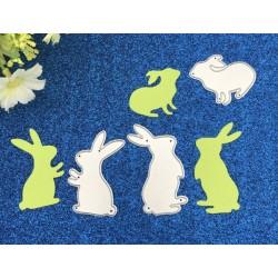Шаблон за изрязване и релеф - скачащи зайчета