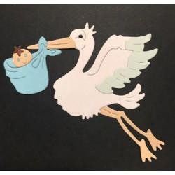 Шаблон за изрязване - щъркел с бебе