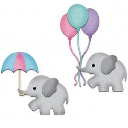 Шаблон за изрязване и релеф - слонче с балонче