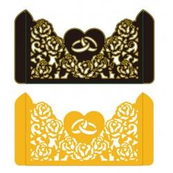 Шаблон за изрязване и релеф - Плик с халки и рози