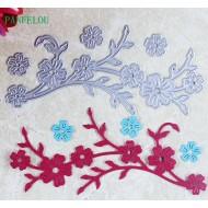 Шаблон за изрязване и релеф - клонка с цветя