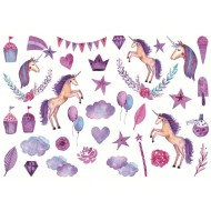 Stickers of purple unicorns