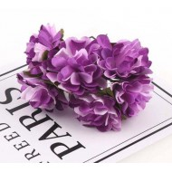 Paper flowers 6 pcs.- purple