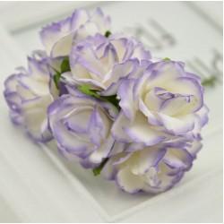 Хартиени цветя 6 бр.- лилаво и бяло