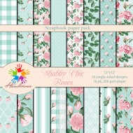 Design paper pack- Shabby Chic in blue