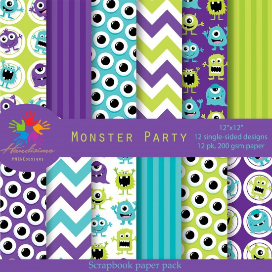Design paper pack - Monster party