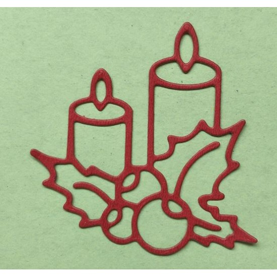 Шаблон за изрязване и релеф - Коледни свещи