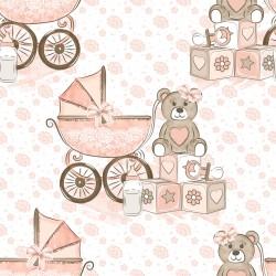 Дизайнерски картони на лист - розово мече 2033