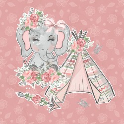 Дизайнерски картони на лист - розово слонче 2025