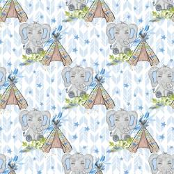 Дизайнерски картони на лист - сини слончета 2019
