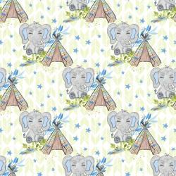 Дизайнерски картони на лист - зелени слончета 2020