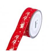 Червена Коледна лента от плат - 10 м.