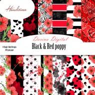Дизайнерски картони - Black § Red poppy- 8х8  инча