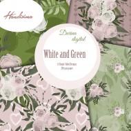 Дизайнерски картони - White and green - 8х8  инча
