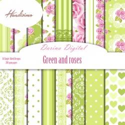 Дизайнерски картони - Green and roses - 8х8 инча
